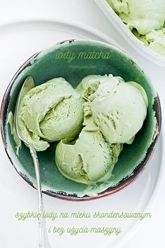 No-churn Matcha Ice Cream Matcha Ice Cream, Matcha Green Tea, Sweet Recipes, Cake Recipes, Dessert Recipes, Polish Recipes, Trifle, Sorbet, Gelato
