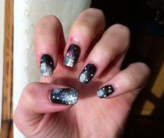 Christmas black nail by francy2094 - Nail Art Gallery nailartgallery.nailsmag.com by Nails Magazine www.nailsmag.com #nailart