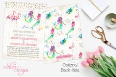 Watercolor Mermaids, Pink Flamingos and Confetti Custom Joint Birthday Party Invitation - Hand Painted Girl Twins Sibling Matching Back Side