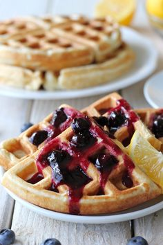 Lemon Belgian Waffles with Blueberry Syrup (use the blueberry syrup recipe from this - super easy!)