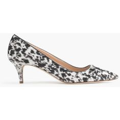 J.Crew Collection Dulci Calf Hair Kitten Heels ($465) ❤ liked on Polyvore featuring shoes, calf hair shoes, haircalf shoes, j crew shoes, kitten heel shoes and mid-heel shoes