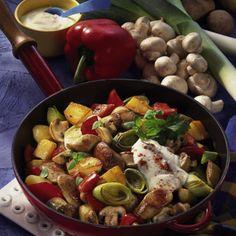 Bratwurst-Gemüsepfanne Rezept   LECKER