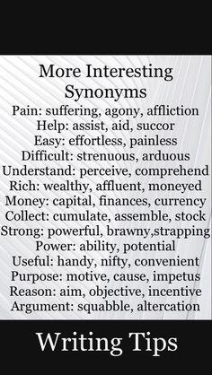Interesting Synonyms : writing tips – – Interesting Synonyms : writing tips – – Essay Writing Skills, English Writing Skills, Book Writing Tips, Writing Words, Writing Prompts, Writing Ideas, Narrative Essay, Argumentative Essay, Fiction Writing