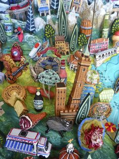 Sara Drake - Emilia Romagna & Venezia detail from a larger illustrated map of Italy - papier mache, acrylic paint, balsa wood and mixed media. Italy Map, Fantasy Map, Art Academy, Old Maps, Beads And Wire, Illustrated Maps, Drake, Cool Art, Mixed Media