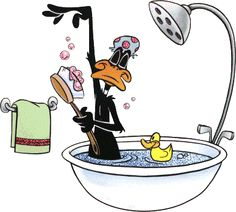 Daffy Duck, bath tub, bathing, shower, brush, cartoon, funny, crazy