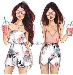 New Ideas fashion illustration inspiration inspirational - Ladys - Mode Bff Pics, Bff Pictures, Best Friend Drawings, Girly Drawings, Pencil Drawings, Fashion Design Drawings, Fashion Sketches, Illustration Inspiration, Fashion Illustration Dresses
