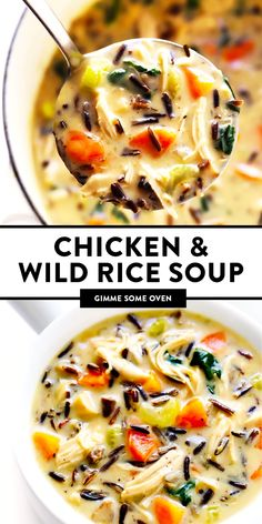 The BEST chicken and wild rice soup -- made with tender chicken and rice, an extra helping of veggies and greens, plus the most delicious creamy rosemary broth. Delicious comfort food that Healthy Soup Recipes, Cooking Recipes, Wild Rice Recipes, Cooking Tips, Chicken Wild Rice Soup, Oven Chicken, Chicken And Veggie Soup, Soup With Rotisserie Chicken, Hearty Chicken Soup