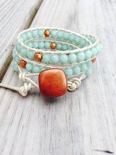 Triple Leather Wrap Bracelet  Mint and Rose Gold - Earthy Boho Jewelry