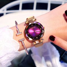 Luxury Women Watches Rose Gold Fashion Diamond Ladies Starry Sky Magnet Quartz Watch Waterproof Female Wristwatch For Gift Clock Stylish Watches, Luxury Watches, Cool Watches, Gold Watches Women, Rose Gold Watches, Violet Rouge, Apollo Box, Beautiful Watches, Fashion Bracelets