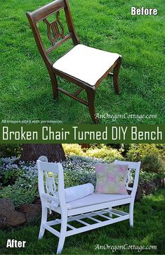 How to turn broken chairs into a DIY Bench.  Repurpose old chairs into a fabulous new french style window bench. Gorgeous makeover and redo!