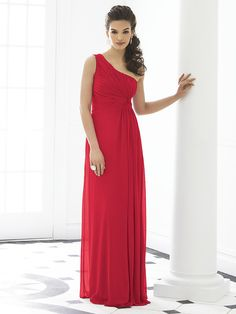 One shoulder, long, red strapless bridesmaid dress