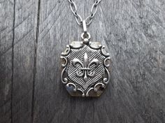 Clockpunk Steampunk Reversible Necklace, Stainless Steel Fleur de lis/Watch Movement with Swarovski Crystals Pendant on Modified Cable Link Chain
