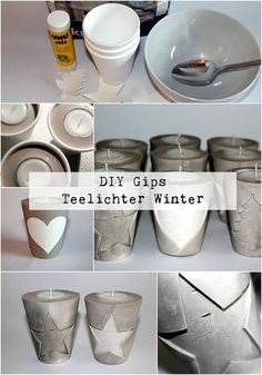 DIY Gips / Beton Teelichthalter Weihnachten ganz einfach selber machen - List of the most creative DIY and Crafts Concrete Crafts, Concrete Projects, Diy Projects, Diy Candles, Tea Light Candles, Tea Lights, Concrete Candle Holders, Tealight Candle Holders, Diy Plaster