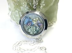 Bismuth Locket Pendant Bismuth Crystal by SherryeLynnGallery