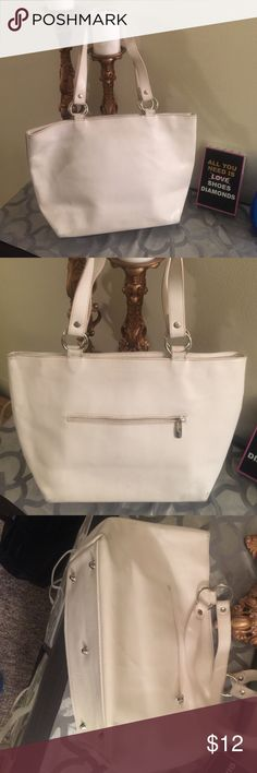White leather tote Simple white leather tote by Cristian made in Italy! Does have wear on the corner. Bags