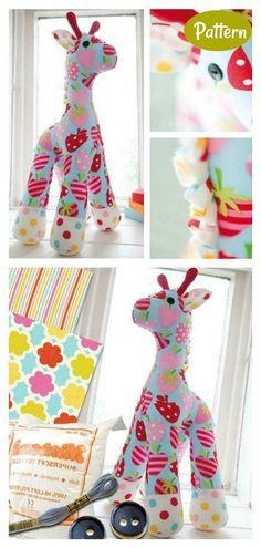 Giraffe Sewing Pattern Giraffe Stuffed Animal, Giraffe Toy, Sewing Patterns Free, Free Sewing, Free Pattern, Sewing Crafts, Diy Crafts, Softies, Kids Room