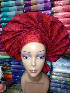 Aso-Oke Fabric Gele Head-Tie Ready to Wear Gele Autogele in this Statement Fan Design. Ideal for all head sizes as it has an ajustable strap. No pins or tricks, just perfectly tailored. Available in Different Colours. Bulk Orders Welcomed. African Wear, African Fashion, Red Hat Ladies, African Head Wraps, African Culture, African Design, Red Hats, Headgear, Ready To Wear