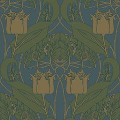 Entwisle Wallpaper in Juniper Craftsman Style Interiors, Bungalow Interiors, Modern Craftsman, Craftsman Style Homes, Craftsman Wallpaper, Art Nouveau Wallpaper, Craftsman Bathroom, Design Art, Interior Design