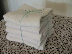 Woven Cotton Towels  Set of 5   kitchen towels  by southernprettys, $15.00