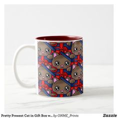 Pretty Present Cat in Gift Box with Bowtie Two-Tone Coffee Mug #Onmeprints #Zazzle #Zazzlemade #Zazzlestore #Zazzleshop #Pretty #Present #Cat #Gift #Box #Bowtie #Two #Tone #Coffee #Mug #Zazzlestyle Birthday Party Celebration, Happy Birthday Parties, Glass Coffee Mugs, Tea Mugs, Little Kitty, Cat Mug, Surprise Gifts, Mug Cup, Special Gifts