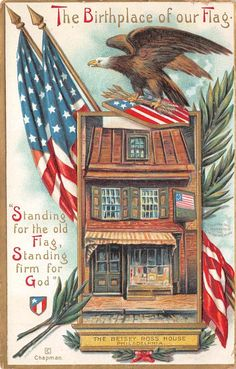 The Birthplace of Our Flag ~ The Betsey Ross House ~ vintage Americana postcard Vintage Cards, Vintage Postcards, Vintage Images, Vintage Labels, Vintage Ephemera, Vintage Pictures, Vintage Sewing, I Love America, God Bless America