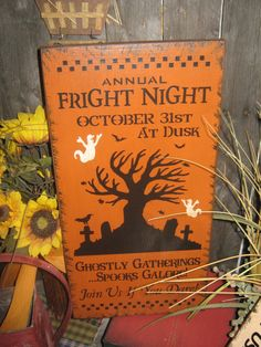 """Primitive Lg Holiday Wooden Hand Painted Halloween Salem Witch Subway Sign -  """" Annual Fright Night  """"  Country  Rustic Folkart"""
