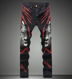 Fashion New Man Tiger Print Denim Jeans Fashion Slim Coated Trousers