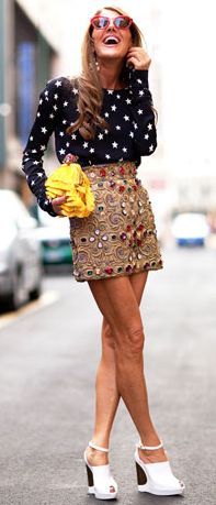 Love this outift (minus those shoes).. but it kinda looked better on the runway... - Anna Dello Russo- seeing stars in Milan, 2012