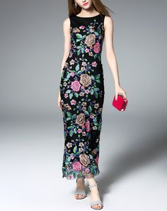 Black Floral Embroidered Sheath Maxi Dress I found this beautiful item on VIPme.com.Check it out!