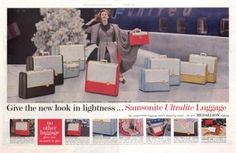 1956 Samsonite Ultralite Luggage ad. The Saturday Evening Post.