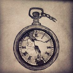 Broken Pocket Watch Tattoo Design