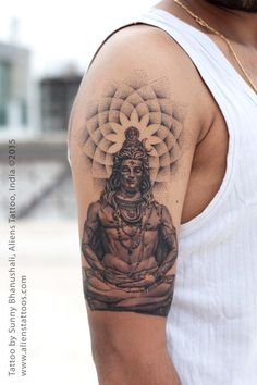 "Lord Shiva with Dotwork Tattoo by Sunny Bhanushali, Aliens Tattoo, India. Did this tattoo on ""TOUR to PUNE"". First tattoo of this tour and its just awesome. Client was sure about the lord shiva theme however he was keen on adding dotwork as he liked my wo Yoga Tattoos, Tatoos, 3d Tattoos, Mahadev Tattoo, Shiva Tattoo Design, Mandala Sleeve, Mandala Tattoo, Religious Tattoos, Hindu Tattoos"