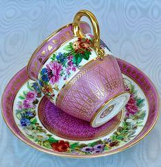 Sevres Splendid Antique Cup and Saucer 19th Fabulous Decor #cupandsaucer #coffeecup #teacups #vintagedishes #cabinetdecor #kitchendecor #diningroomdecor #teaware #shabbychic #afternoontea Vintage Dishes, Vintage Tea, Coffee Cups, Tea Cups, Pink Cups, Afternoon Tea Parties, Porcelain Mugs, Cabinet Decor, Enamels