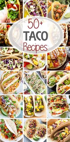 50 Taco Recipes From Soft shell hard shell flour corn chicken fish shrimp beef the variations are never ending! Everyone will find something to love with these delicious Taco recipes! via Julie Evink Sausage Recipes, Beef Recipes, Chicken Recipes, Cooking Recipes, Spinach Recipes, Taco Bar Recipes, Cooking Tips, Healthy Recipes, Mexican Dishes