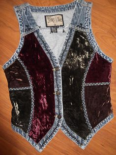 WOMENS CAROL LITTLE BOHO RENAISSANCE HIPPY HIPPIE DENIM CRUSHED VELVET VEST 10