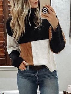 May 2020 - Contrast Color Splicing Reversible Sweater – bodyconest sweater styles outfits,outfit sweater,sweater outfit ideas Winter Outfits For Teen Girls, Cute Fall Outfits, Winter Outfits Women, Casual Outfits, Winter Clothes For Women, Winter Sweater Outfits, Autumn Outfits, Sweater Dresses, Casual Heels