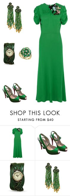 """Thirties style clothing: dress like a diva"" by valelondon ❤ liked on Polyvore featuring Miu Miu, Christian Louboutin, Alex Soldier and Effy Jewelry"