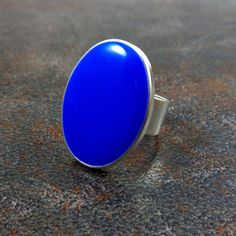 Statement Ring Blue Silver Oval Ring Cocktail Ring by Pilboxx