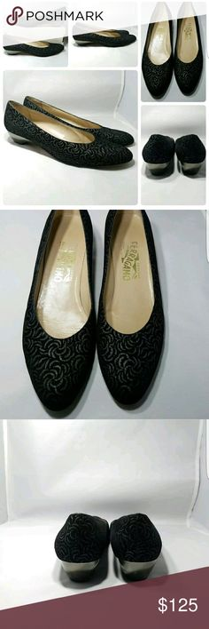$650 SALVATORE FERRAGAMO Embroidered Heel 8.5AA Beautiful $650 SALVATORE FERRAGAMO Womens Embroidered Black Suede Heels Pumps Sz 8.5 AA Excellent Pre-Owned Condition Feel free to ask any questions and make offers. Salvatore Ferragamo Shoes Heels