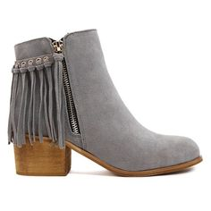 Tassel Solid Color Suede Ankle Boots found on Polyvore featuring shoes, boots, ankle booties, ankle boot, suede booties, tassel boots, short suede boots, suede bootie and suede leather boots