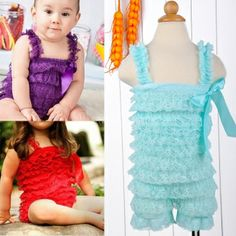 Baby Girl Lace Romper with Straps Ribbon Bow Infant Bodysuit
