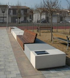 Contemporary public bench in wood and stone (with backrest) - LONGO by Manuel Ruisánchez Architect - Escofet
