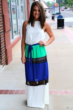 Color Block & Lace Maxi {Ivory}