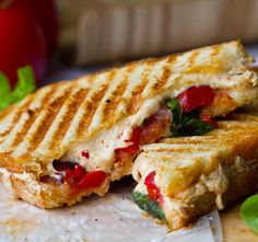 Vegan tomato basil roasted pepper panini