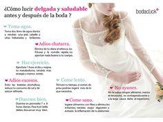 Consejos para lucir delgada y saludable el día de la boda. #bodas #consejos
