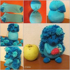 Bring socks into craft projects, it can be super fun for kids and family time. if you ever have any odd new socks dump in the deep closet ,you can turn them into these adorable sock toys for your litt Pom Pom Animals, Sock Animals, Pop Can Crafts, Fun Crafts, Sock Crafts, Fabric Crafts, Easy Craft Projects, Sewing Projects, Sock Bunny