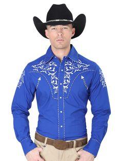 Cowboy Outfits, Western Shirts, Cowboy Hats, Westerns, Royal Blue, Bomber Jacket, Shirt Dress, Boys, Color Azul