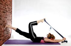 Yoga Backbend with Strap and Wall.