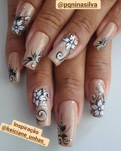 Publicación de Instagram de By Tancinha Castro • 14 de Ene de 2018 a las 5:31 UTC Elegant Nail Designs, Beautiful Nail Designs, Beautiful Nail Art, Nail Art Designs, Fabulous Nails, Perfect Nails, Fancy Nails, Pretty Nails, Cute Spring Nails