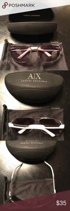 Men's Armani Exchange Sunglasses Great used condition white sunglasses. No major marks or scratches on the lenses. Comes with solid protective case and a cleaning sleeve. Purchased from Lord & Taylor *Lenses are reflecting purple-ish in the photo, but they are a lighter black. A/X Armani Exchange Accessories Sunglasses